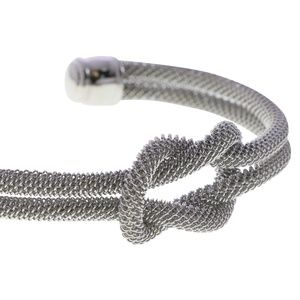 Lydell silver textured knot cuff bangle
